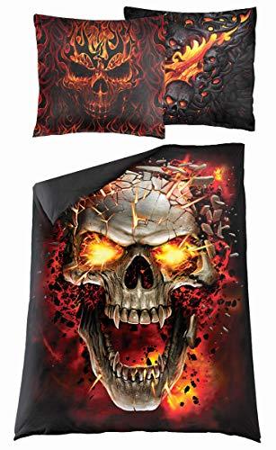 Spiral Skull Blast Unisex Bettwäsche Mehrfarbig 100% Baumwolle 135 x 200 cm/80 x 80 cm Gothic, Horror