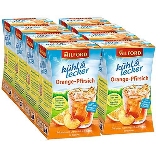 Milford kühl & lecker Orange-Pfirsich, 20 Beutel, 8er Pack (8 x 50 g)