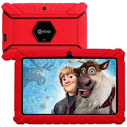 Contixo V8-2 7 inch Kids Tablets - Tablet for Kids with Parental Control - Android Tablet 16 GB HD Display Durable Case & Screen Protector WiFi Camera-Learning Toys for 2 to 10 Years Old, Red