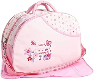 Unique Ideas New Born Baby Multipurpose Polyester Diaper/Mother Bag with Holder Diaper Changing Multi Compartment (Printed Pink, Medium)