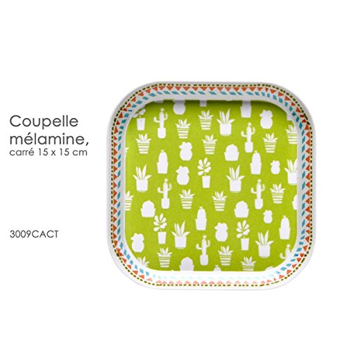Fox Trot - 3009CACT - COUPELLE Carree 15 X 15 CM Decor Chat Cactus