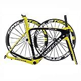 TQ Cuadro Completo de Bicicleta de Carretera de Fibra de Carbono 700C Racing Cuadro de Carbono de Bicicleta con Juego de Ruedas Auriculares BB386 UD Brillante,Amarillo,55cm