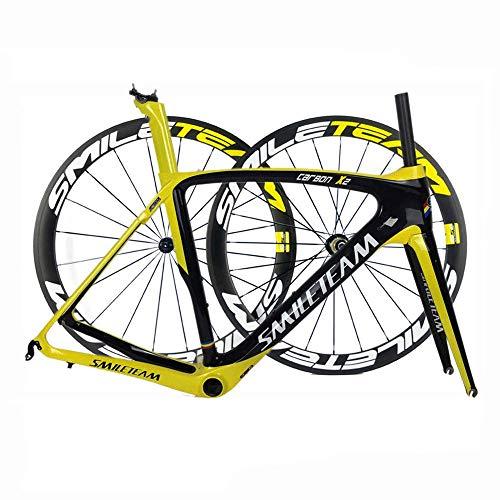 TQ Cuadro Completo de Bicicleta de Carretera de Fibra de Carbono 700C Racing Cuadro de Carbono de Bicicleta con Juego de Ruedas Auriculares BB386 UD Brillante