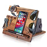 TESLYAR Natural Walnut Wood Phone Docking...