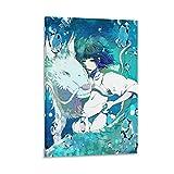 QWKM Póster de anime Miyazaki Hayao Spirited Away Haku Dragon 2 Lienzo artístico y arte de pared Impresión moderna para dormitorio familiar 40 x 60 cm
