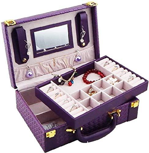 MQJ Caja de Alenamiento de Joyería Multifuncional Organizador de Joyería Portátil Organizador Pendiente para Largas Vacaciones, Fines de Semana, Viajes de Negocios de Alta Capacidad,Púrpura