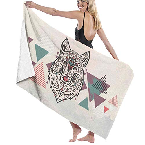 Ewtretr Toalla de Playa Geometric Wolf Microfiber Beach Towels Quick Dry Super Absorbent Bathing SPA Pool Towels for Swimming & Outdoor, 31