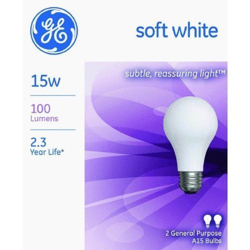 GE Lighting 97491 15 Watt A15 Soft White Light Bulb (12 Pack)