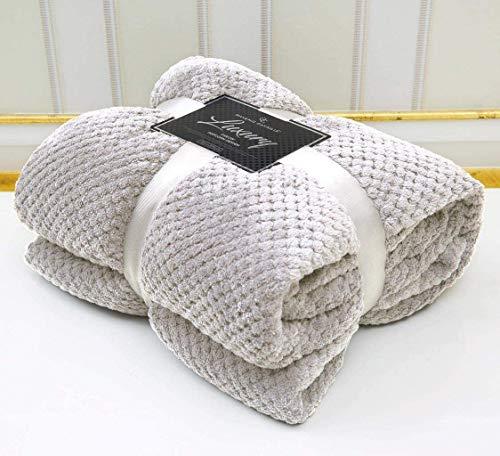 Super Soft Luxury Popcorn Textured Throws Fleece Blanket Sofa Bed Warm Large Settee (Silver, King :200Cm x 240Cm)