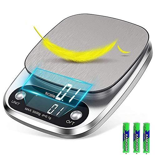 Mobxpar Bilancia da Cucina Smart Digitale con Funzione Tare, 5kg/0.1g Professionale Acciaio Inox Alta Precision Bilancia Elettronica per la Casa e la Cucina, Argento (3 Batteries Incluse)