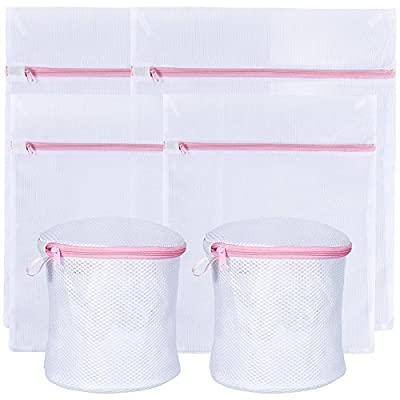 Zacro Washing Bags, White Zippered Mesh Laundry Bags Bra and Lingerie Bags for Blouse, Hosiery, Underwear, Bra, Lingerie and Baby clothes - Pack of 6 (2* Bra and Lingerie Bags, 2* Medium, 2* Small)