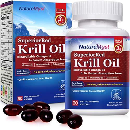 NatureMyst Krill Oil, Professional Grade 60 Liquid Softgels, Non-GMO, Gluten Free, Made in The USA