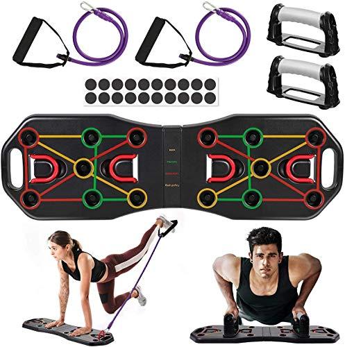 Queta -Tabla de Flexiones 9 en 1 Sistema Ejercicio Stand Plegable, Entrenamiento de los músculos del Pecho, Push Up Tabla Board con Cuerda de tracción Multifunctional en casa