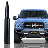 Mega Racer 50 Cal Bullet Antenna for Trucks - 5.5 Inch Universal AM/FM Radio, 6061 Solid Aluminum Truck Antenna Anti-Theft Design Car Wash Safe, Black