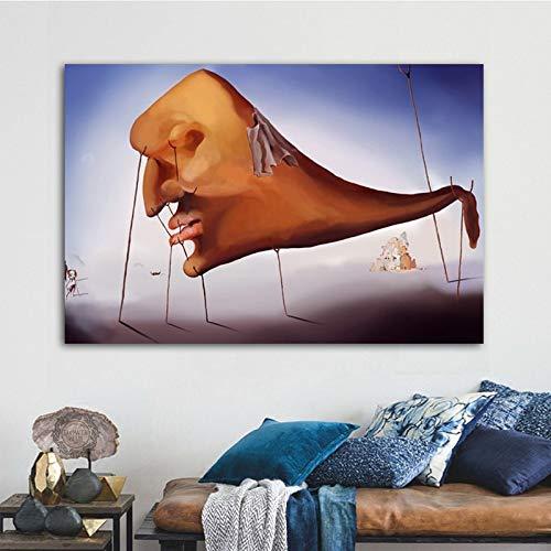 Flduod Abstract gezicht Salvador Dali Artwork Canvas schilderij Wall Art foto voor woonkamer posters en prints Home Decor50x75cm
