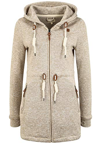 OXMO Thora Damen Fleecejacke Sweatjacke Jacke, Größe:XL, Farbe:Dune (795409)