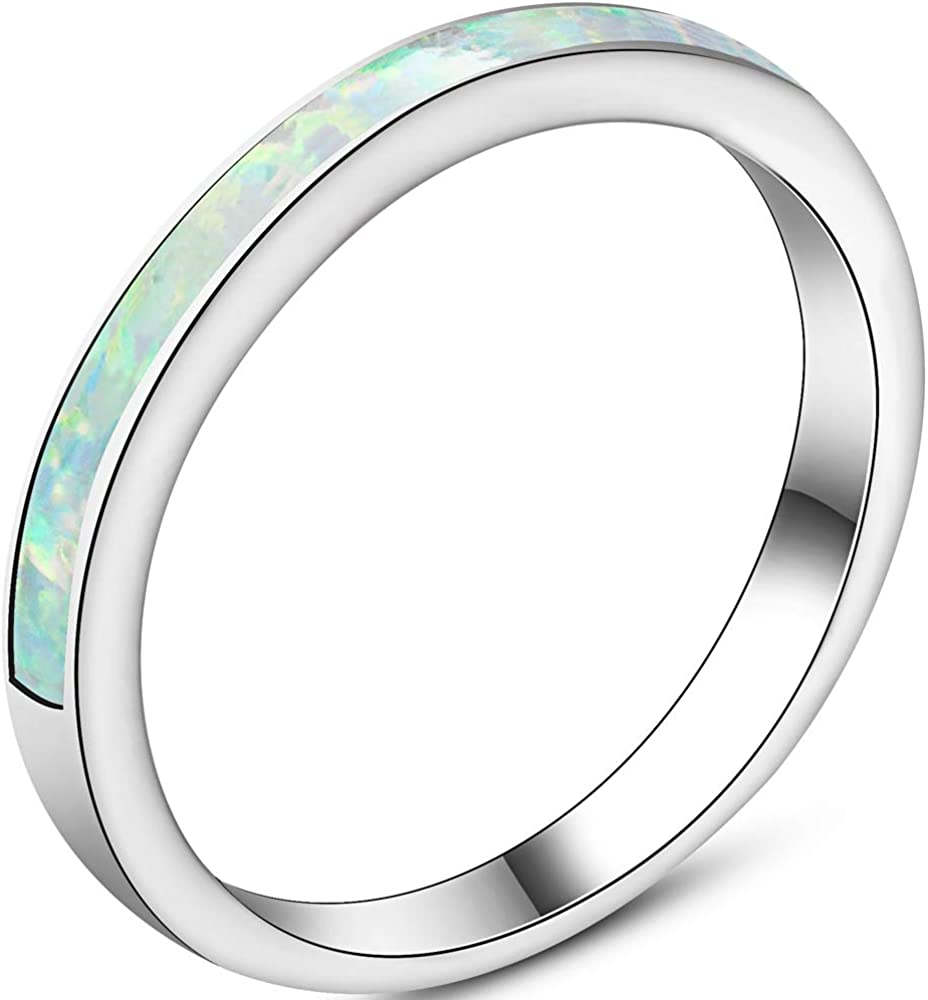 4mm Stainless Steel Fire Opal Inlay Half Eternity Wedding Band Ring
