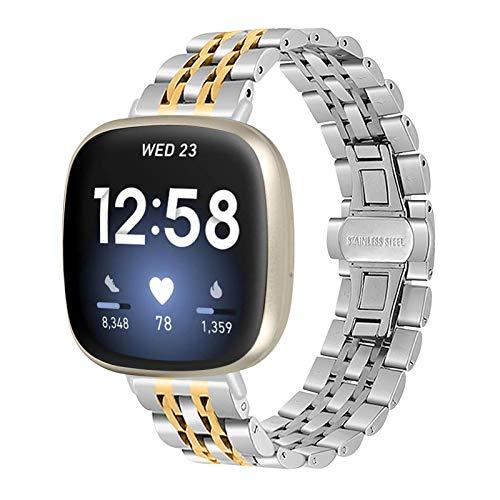 SenMore Correas compatibles con Fitbit Versa 3 Sense Correa de Repuesto, Correa de muñeca de Metal de Acero Inoxidable Correa de Reloj Accesorios para Fitbit Versa 3 Fitbit Sense (sin Host)