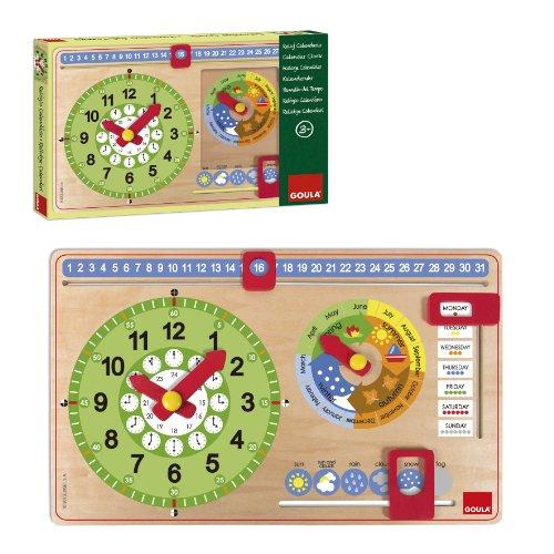 Goula Kalenderuhr–Holz, Lernuhr für Kinder