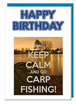 Carp Fishing Themed Birthday Card - Dad - Husband - Brother - Son - Grandad - Boyfriend by AK Giftshop Ltd