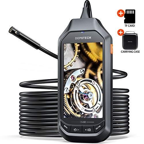 DEPSTECH 1080P Cámara endoscópica, Endoscopio doble lente con pantalla IPS de 4,5 pulgadas, cámara de inspección HD,6 luces LED ajustables, batería de 3300 mAh, IP 67, tarjeta TF de 32 GB (5M)