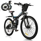 Vivi Bicicleta Eléctrica Plegable, 26 Pulgadas para Bicicleta De Montaña Eléctrica para Adultos, Motor De 250 W con, Engranaje De 21 Velocidades De Suspensión Shimano Completa Premium (Azul Negro)