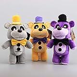 yskcsry 3 Unids / Set Five Nights At Freddy'S Golden Fazbear Bear Grey Purple Freddy Dolls Peluches De Peluche Dibujos Animados para Niños Y Niñas Regalos 30Cm