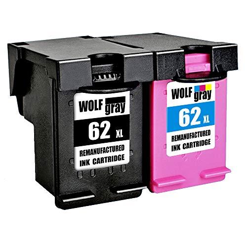Wolfgray 62XL Remanufacturado para HP 62 XL 62 Cartuchos de Tinta (1 Negro, 1 Tricolor) para HP Envy 5640 5540 7640 5544 5546 5646 5542, HP OfficeJet 5740 5742 200