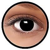 Farbige Kontaktlinsen schwarz Hexe + Behälter, weich, ohne Stärke in schwarz als 2er Pack (1 Paar)- angenehm zu tragen und perfekt für Halloween, Karneval, Fasching oder Fastnacht Kostüm -