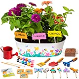 Kids Gardening Set for Kids – Best Gift for 5 6 7 8 9 10 11 Year Old Girls | Grow Your Fairy Garden Kit - Best Art & Craft Paint & Plant Flower Growing Kit/w Tools | Science STEM Planting Set