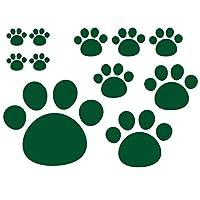 デザイン工房SIGNS 車 ステッカー 肉球 おもしろ 犬 猫 11枚セット 18 モスグリーン (マット)