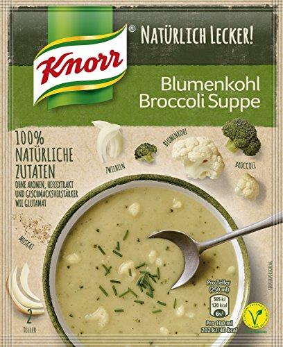Knorr Natürlich Lecker Broccoli Blumenkohl Suppe, 2 Teller, 19er Pack