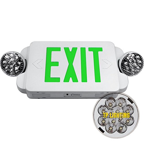 eTopLighting LED Green Exit Sign Emergency Light Combo with Battery Back-Up UL924 ETL listed, AGG1073
