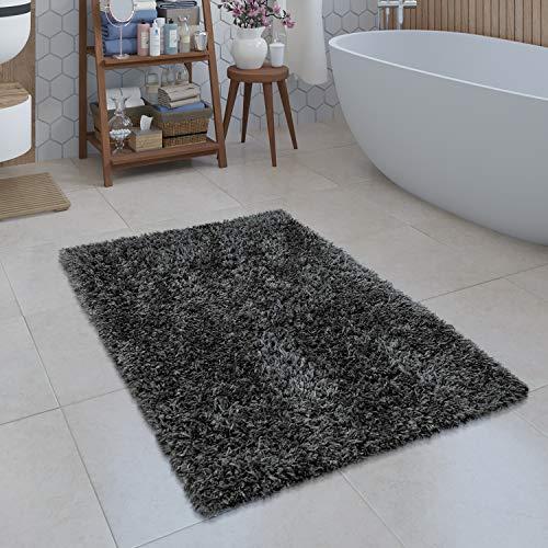 Paco Home Moderne Badematte Badezimmer Teppich Shaggy Kuschelig Weich Einfarbig Grau, Grösse:80x150 cm