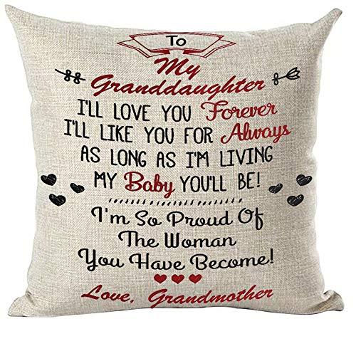 ramirar zwart woord kunst citaat aan mijn kleindochter ik zal liefde u voor altijd liefde grootmoeder decoratieve gooien kussensloop hoesje huis woonkamer bed bank auto Faux katoen linnen plein 18 x 18 inch
