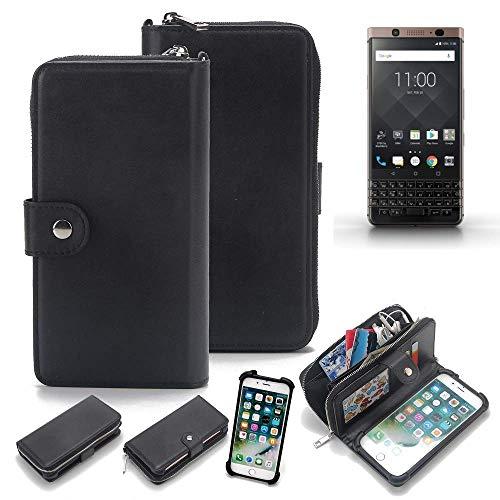 K-S-Trade 2in1 Handyhülle Für BlackBerry KEYone Bronze Edition Schutzhülle und Portemonnee Schutzhülle Tasche Handytasche Hülle Etui Geldbörse Wallet Bookstyle Hülle Schwarz (1x)