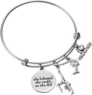 Miss Pink Gymnast Gifts Adjustable Wire Bangle I Love Gymnastics Charm Bracelet Birthday Jewelry for Teens
