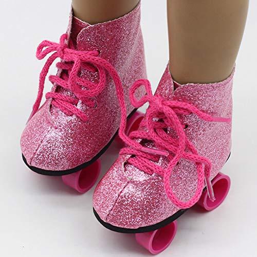 FLOX Glitter Rollschuhe für 18 Zoll Puppen - Rollschuhe für American Girl Dolls - Die süßesten Puppenschuhe und Puppenzubehör - Pink/Bunt/Schwarz und Weiß
