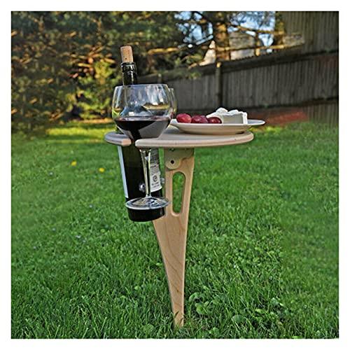 Mesa de vino plegable al aire libre, mesa de picnic portátil, rejilla de copa de vino, mesa de picnic de madera al aire libre, mini estaca de mesa de vino plegable para patio al aire libre Vivir