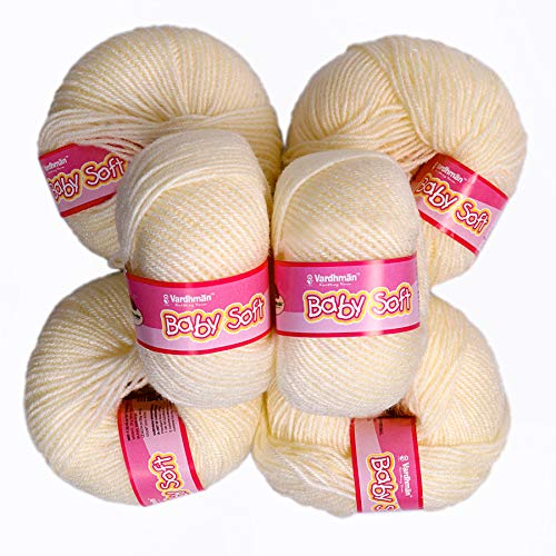Vardhman Cream Baby Soft Acrylic Knitting Wool Cream 150 Grams. Soft Wool Ball Hand Knitting Wool/Art Craft Fingering Crochet Hook Yarn. Sweaters, mufflers, caps, Soft & Thin Wool?¦.