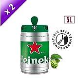 Bière - HEINEKEN Lot de 2 Fûts de biere Blonde - Compatible Beertender - 5 L