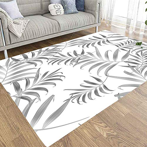 Musesh 3X5 Area Rugs Area Rug Cool Play Area Rug for Office Bedroom Tropical Colorful Palm Leaves Seamless Stylish Fashion Floral Pattern in Hawaiian Style