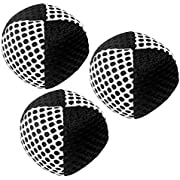 speevers Juggling Balls for Beginners and Professionals Set of 3 110g, 10 Fresh Beautiful Summer Colors Available, 2 Layers of Net and Carry Case, Xballs Juggling Balls (Black - White)
