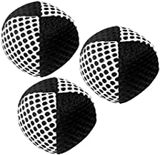 speevers Xballs Juggling Balls Professional Set of 3 120g - 10 Beautiful Colors Available - Juggle Balls for Beginners, Kids, Adults - 2 Layers of Net 4 Panels Carry Case (Black - White)