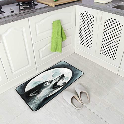 Alfombra de cocina con diseño de lobo 2 alfombrillas antideslizantes para baño, alfombra para decoración del hogar, 99 x 50 cm