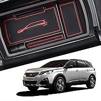 Peugeot 5008 専用車の収納ボックス 層状パーティション センターコンソール アームレストボックスABS樹脂製カーアームレストボックス収納ボックス滑り止めマット付きトレイ