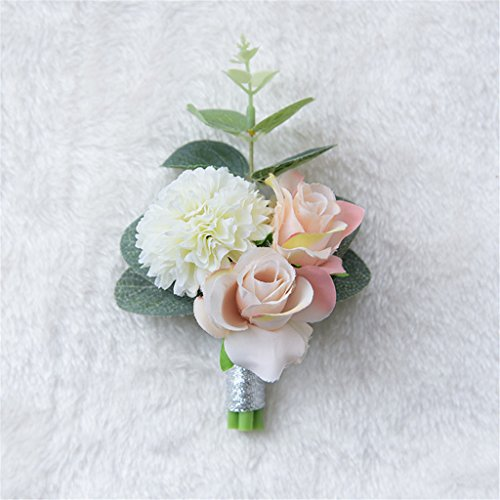 Fouriding, bouquet di fiori artificiali in stile vintage, campagnolo, bouquet da sposa, per decorazione del matrimonio Corsage wrist flower