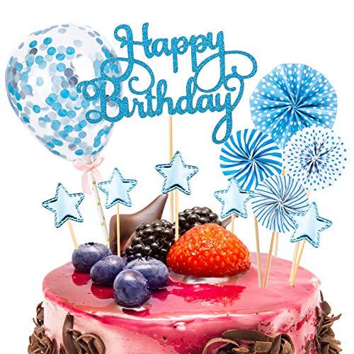 12 Pezzi Decorazione Torta di Compleanno Happy Birthday Cake Topper Coriandoli Palloncini Stella Cupcake Topper (Blu)