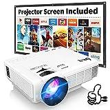 Proyector DR.Q con Pantalla de Proyección, 6000 Lúmenes Proyector de Video Soporta Full HD 1080P, Proyector Mini Compatible con TV Stick HDMI VGA USB TF AV para Cine en Casa y Películas al Aire Libre.