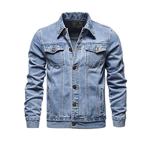 Chaqueta de mezclilla de algodón de los hombres casual de color sólido solapa solo pecho otoño Slim Fit chaquetas para hombre